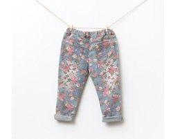 Wholesale Girls Legging Jeans - baby girl kids vintage cotton rose flower Jeans flower legging floral Jeans pants legging tights Denim pants pajamas