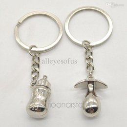 Wholesale Antique Baby Bottles - Wholesale-Free Shipping New Pacifiers Baby Feeding Bottles Key Chain Lover's Keychain lovely Couple Key Chain Rings FMHM140#M1