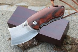 Wholesale Easy Promotions - Promotions Easy to carry Wood Handle Mini Folder Knife 5Cr15Mov 56-57HRC Tanto Point Blade EDC Folding Pocket Knives D244Q