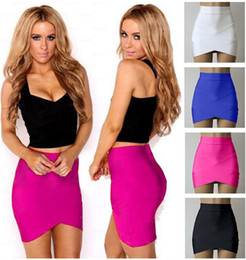 Wholesale Hot Spandex Mini Skirts - New Hot US High-end Mini Skirts Sexy Cross Bandage Pencil Skirt Stretch Short Bodycon Party Dress