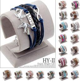 Wholesale Owl Hope Bracelet - Wholesale-2015 trendy men jewelry anchor rudder best friends love owl leather bracelets Environmental zinc alloy hope wrap Bracelets
