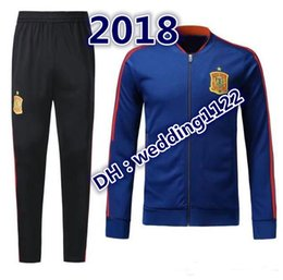 Wholesale Top Quality Jackets - Top thai quality 2018 Spain Jacket tracksuit SERGIO RAMOS A.INIESTA ASENSIO ISCO PIQUE Soccer jackets Jogging Football Pants training Suit