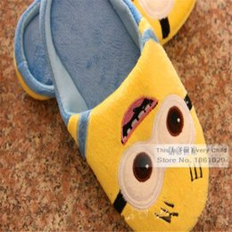 Wholesale Despicable Minions Plush Slippers - Wholesale-Despicable Me Winter Home Slippers Cute Cartoon Thief Daddy Minions Man Plush Warm Cotton Slippers Floor Trailers CSM9127