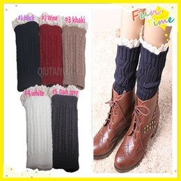 Wholesale Lace Top Boot Socks Wholesale - Lace Cable Knit Boot Cuff Knit Boot Topper Faux Leg Warmers Sock Tops Knit Leg Warmers Boot Warmers 9 colors S499