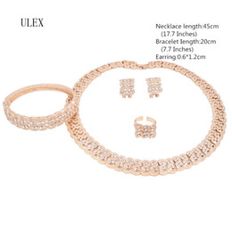 Wholesale Red Bridal Jewellery - ULEX Dubai Classic Jewelry Sets For African Women Gold Color Necklace Bracelet Earrings Ring Jewellery Set bridal jewelry MZ3Z