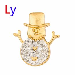 Wholesale Wholesale Christmas Gifts China - Christmas gift Noosa Button Snap Gold Snowman Snap Jewelry White Crystal Metal Snap Button For Women's Fashion Necklace AC132