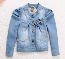 Wholesale Real Girls Breast - 2016 Limited Real Jackets Spring   Autumn 5pcs lot Baby Girl Famous Brand Jeans Coat Single Breasted Solid Jacket Clothing Outerwear 2-8y