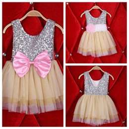 3bd4fd950 FEDEX UPS Free Girls summer flower bowknot shiny dress Baby sequins lace  tulle princess party dress 2styles sleeveless vest dress