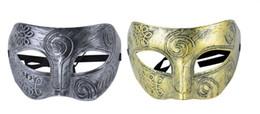 Wholesale Vintage Carnival Costumes - Men's Retro Roman Gladiator Masquerade Masks Vintage Silver Mask Carnival Mask Mens Halloween Costume Party Mask (Silver And Gold)