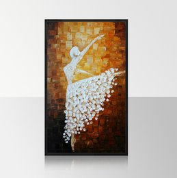 Wholesale Large Modern Wall Art Canvas - large Hand-painted home decoration modern wall art picture ballet girl thick knife oil painting on canvas for living room gift