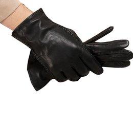 Wholesale Genuine Sheepskin Mittens - Wholesale-Hot Sales Men Sheepskin Gloves For Men`s Glove Warm Winter Mittens Genuine Leather Gloves Free Shipping