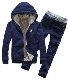 Wholesale Fur Lined Sweatshirts - Wholesale-Winter Tracksuits Hooded Men Male Hoodies Sport Suits Fur Lining Jacket Pants and Sweatshirt Set JH981