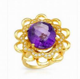 Wholesale Vvs Diamond Engagement Rings - Free Shipping Natural Diamond VVS Purple Amethyst Nice Ring Solid 14K Yellow Gold(R0107)