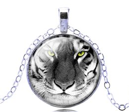 Wholesale Wholesale Fantasy Jewelry - Silver Glass Tiger Pendant Necklace Rare Stylish Wild Animal Charm Amulet New Fantasy Jewelry 12PCS Free Shipping