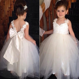 Wholesale Multi Color Tulle Ankle Dress - 2015 Vintage Flowergirl Dresses A Line Flower Grils Dress Soft Tulle Formal Gowns with Sheer Straps Lace Appliques V Back Oversized Bow