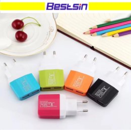 Wholesale Colorful Plug Adapter - Colorful US EU Plug 2 USB Wall Chargers 5V 1.2A Adapter Travel Convenient Power Adaptor with double USB Ports For Mobile Phone