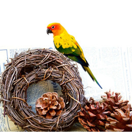 Wholesale Swing Hangers - Bird Parrot Natural Rattan Swing Ring Hanging Pet Parakeet Budgie Cockatiel Cage Toy Enclosed A Hook Hanger 10 15 20cm