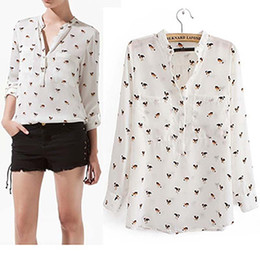 Wholesale Chiffon Dog Print Blouse - Spring 2014New Fashion Dogs Chiffon Shirt  Collarless Loose Cusual Animal Printed Long Sleeve Chiffon Blouse For Women,White