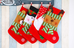 Wholesale Woven Gift Bags - 2017 hot Christmas Stocking Candy Non-Woven Bags Christmas Socks Treat Gift Bags Pocket for Christmas Gift & Decoration Halloween Party