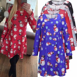Wholesale Girl Xmas Shirts - girls women Christmas Shirt Dress Xmas Snowman Print Casual Long Sleeve Party Dress Christmas Print T Shirt Dress KKA3365
