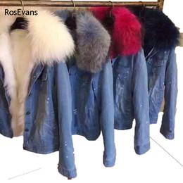 Wholesale Denim Jacket Lining - Wholesale- RosEvans 2017 Korean Winter Women Faux Fox fur Lined Denim Jeans Thicken Warm Jacket Faux Raccoon Fur Female Jacket Overcoat B78