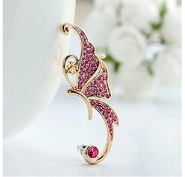 Wholesale Earring Clamps - Cheap Price Shiny Pink White Crystal Womens Butterfly Wings Shape Ear Clip Clamp Earrings Cuff Earrings Jewelry Gifts LZ