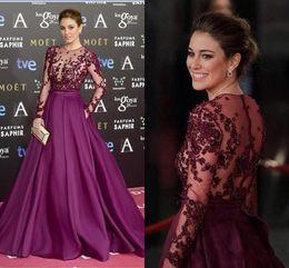 Wholesale Transparent Dress Piece - Elegant 2016 Sexy Sheer Lace Evening Dresses Purple Two Pieces Dress Transparent Long Sleeves A Line Satin Full Length Prom Dress Plus Size