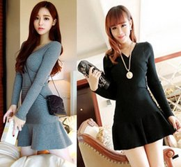 Wholesale Sexy Clothes School Girl - 2015 Winter Sexy V neck Knitted Sweater dresses Gray Black School Girl Warm Brief Bodycon Slim Tunic Clothing Drop shipping