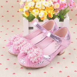 Wholesale Lace Princess Heels - Wholesale-2015s Children's shoes girls high heels shoes Latin dance girls princess leather shoes pearl and lace bow bling rhinestone