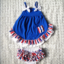 Wholesale Girls Swing Tops - Wholesale-4th July autum girls swing back top set wholesale 2015 fashion cloth with matched bloomer two pcs as a set 3sets lot