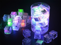 Wholesale Green Ice Cubes - Party Decorative Flash Ice Cubes Water Actived Flash Led Lights Put Into Water will Flashing Automatically for Party Wedding Bars