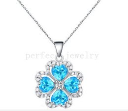 Wholesale Blue Topaz White Gold Necklace - Natural blue topaz necklace pendant Natural real topaz 925 sterling silver plated 18k white gold Free shipping Perfect jewelry DH#15070744