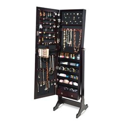 Wholesale Full Length Rings - Dark Brown Full Length Dressing Mirror Jewelry Cabinet Armoire W Stand Rings Bracelets Storage Free Shipping USA Stock