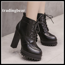 Wholesale Thick Heel Womens Shoes - 2018 New Black PU Leather Boots Womens lace Up Thick Heel Platform Shoes Ankle Bootie Size 34 to 39