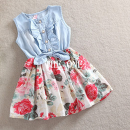 Wholesale Korean Cute Dress Lines - Korean Style Children Leisure Sleeveless Cowboy Dress Girs Cute Ruffle Demin Dresses Kids Lovely Pleated Printing Vest Dressy free shipping