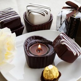 Wholesale Wholesales Candels - Wholesale-4pcs Cute Love Chocolate Heart Candlesticks Wedding Party Wedding Centerpiece & Home Decor Candels Holders Stuffs