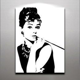 Wholesale Audrey Hepburn Decor - Audrey Hepburn - Fashion Queen Elegant Lady Oil Painting Printed on Canvas Wall Art For Home Hotel Office Fantastic Decor