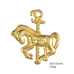 Wholesale Carousel Charms Jewelry - 100pcs lot Carousel Horse Animal DIY Finding Jewelry Charm Pendant Antique Silver Plated For Jewelry Making (H106371)