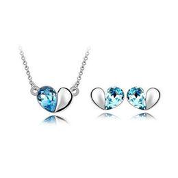 Wholesale Rain Necklace - 18K Austrian Crystal Jewelry Set Whisper of love Necklace Earrings Love all-match Jewelry Rain Heart Earrings Necklace Jewelry Sets 8064