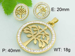 Wholesale Earrings Wishing - FC new trend of European and American fashion jewelry pendant piece titanium steel jewelry wholesale diamond earrings Wishing Tree KL