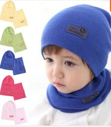 Wholesale Candy Colors Baby Scarf - 6 Colors! Spring Children Hedging Cap + Scarf Suit Leather Standard Solid Color Candy-Colored Wool Hats Newsboy Caps Baby Hat TY1240