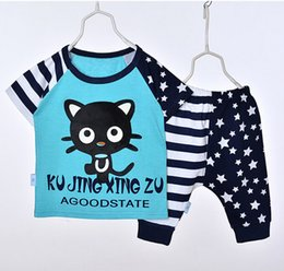 Wholesale Star Boy Shirt - New Baby Summer Children Boy Suit Childrens Short Sleeve Star Cat T-shirt+Pant 2 Pieces Outfits Free Shipping