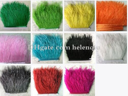 Wholesale Wholesale Feathers For Crafts - 10yard lots Muticolor Long Ostrich Feather Plumes Fringe trim 8-10cm Feather Boa Stripe for Party Clothing Accessories Craft