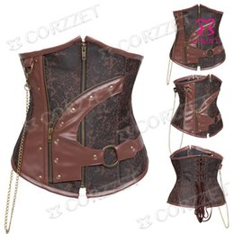 Wholesale Brown Leather Underbust - Wholesale-Women's Waist Training Corsets Shapers Brown Brocade&Leather Sexy Zipper Steel Boned Underbust Corset Bustier Steampunk