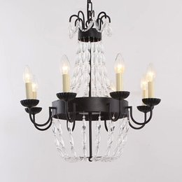 Wholesale Country Works - Pendant Lights Europe Country LED Light Candles Chandeliers and Ceiling Black Crystal Chandelier for Bedroom Black Wrought Iron Chandelier
