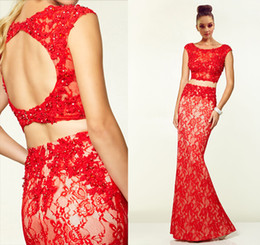 Wholesale Seductive Prom Dresses - Seductive Two-Pieces Mermaid Prom Dress Bateau Neck Red Lace Sleeveless with Appliques Beads Backless Sweep Train 2015 Girls' Evening Gowns
