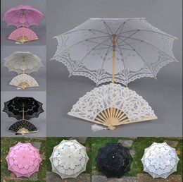 Wholesale Handmade Ivory Lace Fan - full lace Parasol and Fan Victorian Design Umbrella wedding Bridal battenburg handmade embroidery 4 color u pick H106S