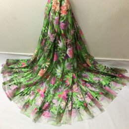 Wholesale Tulle Fabric For Sale - wholesale and retail Hot sale African tulle lace fabrics sequins Embroidered Flower design French voile lace fabric for bridal dress D76GB01