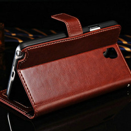 Wholesale Case Wallet Neo - Wholesale-Vintage PU Leather With Stand Wallet Case For Samsung Galaxy Note 3 Neo Lite N7505 N7506 Retro Black Luxury Phone Bag Cover BOB