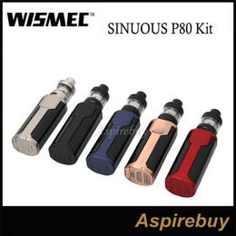 Wholesale Hidden Kit - Wismec SINUOUS P80 Kit 80W Sinuous P80 Box Mod with Elabo Mini 2ML Tank Hidden Fire Button with Side 0.96inch Screen 100% Original